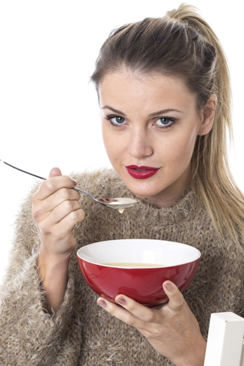 Eating chicken soup